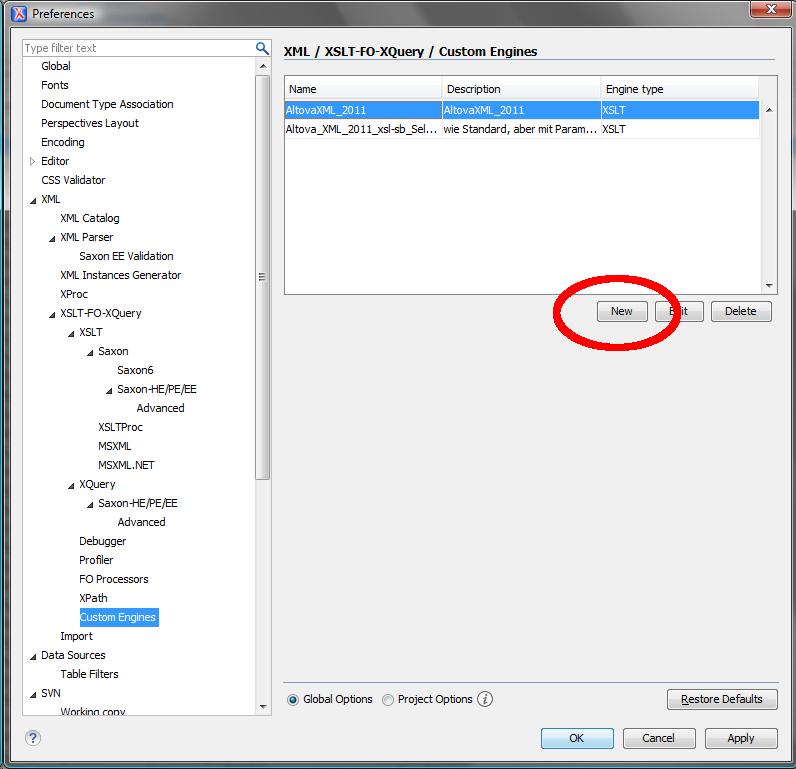 OxygenXML: einen neuen XSLT-Prozessor anlegen, Seite »Custom Engines«