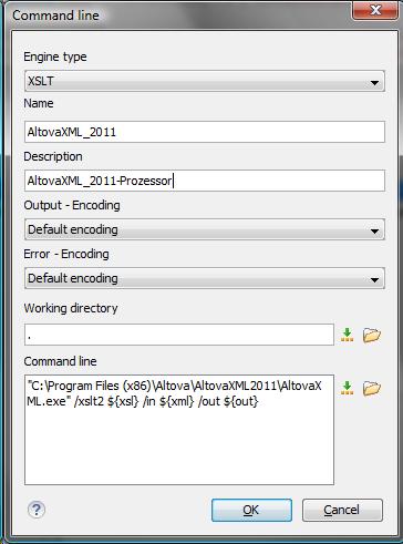 OxygenXML: einen neuen XSLT-Prozessor anlegen: Standardeinstellung für AltovaXML
