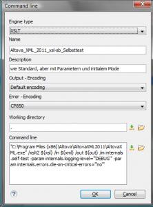 OxygenXML: einen neuen XSLT-Prozessor anlegen: AltovaXML mit erweiterten Einstellungen für initialen Mode und Parameter