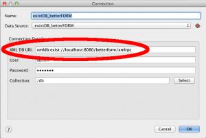 Konfiguration des OxygenXML-Konnektors zu eXist-db