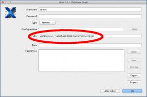 Login-Dialog des »eXist-db Admin Client« mit URL zur RPC-Schnittstelle zur Datenbank
