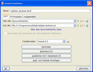 <OxygenXML/>-Transformations-Szenario für XSLStyle™